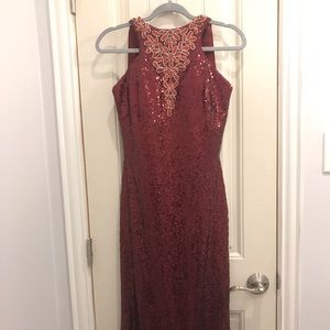 Burgundy Sequined Evening Dress